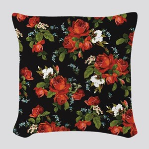 Red Roses Vintage Floral Woven Throw Pillow