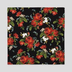 Red Roses Vintage Floral Queen Duvet