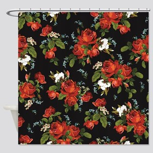 Red Roses Vintage Floral Shower Curtain
