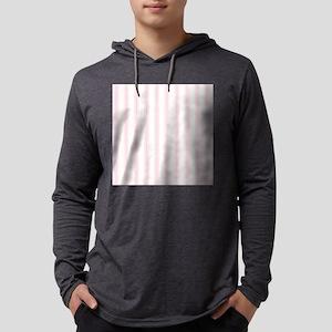 Shabby Pink White Stripes Mens Hooded Shirt