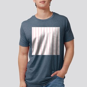 Shabby Pink White Stripes Mens Tri-blend T-Shirt