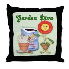 Garden Diva Throw Pillow