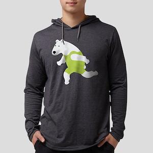 Polar Bear Runner Green Mens Hooded Shirt