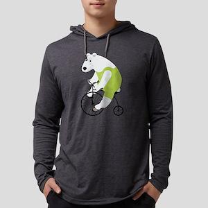 Polar Bear Cyclist Green Mens Hooded Shirt