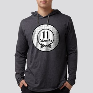 Bow Tie 11 Month Milestone Mens Hooded Shirt