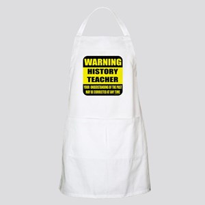 Warning history teacher sign BBQ Apron