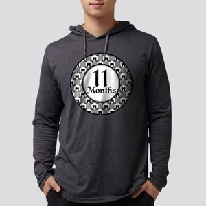 Mustache 11 Month Milestone Mens Hooded Shirt