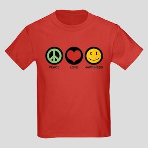 Peace Love Happiness Kids Dark T-Shirt