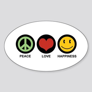 Peace Love Happiness Oval Sticker