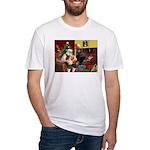 Santa's Petit Basset Fitted T-Shirt