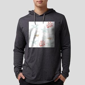 Starfish Seashells Pattern Mens Hooded Shirt
