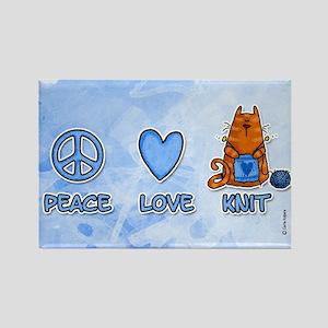 peace, love, knit Rectangle Magnet