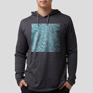 Blue Wrinkled Foil Texture Mens Hooded Shirt