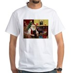 Santa's Black Pug White T-Shirt