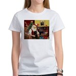 Santa's Black Pug Women's T-Shirt