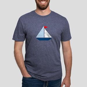 Red Flag Sail Boat Mens Tri-blend T-Shirt