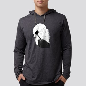 Skull Pirate Ship Mens Hooded Shirt