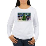 Xmas Magic & Schnauzer Puppy Women's Long Sleeve T