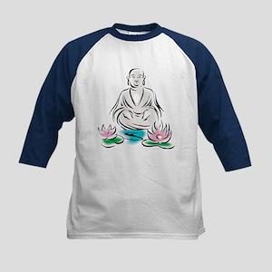 Buddha With Lotus Flowers Kids Baseball Jersey