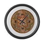 Pagan Pentagram Wiccan Mandala Large Wall Clock