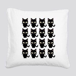 Black Neko Cat Cute Square Canvas Pillow