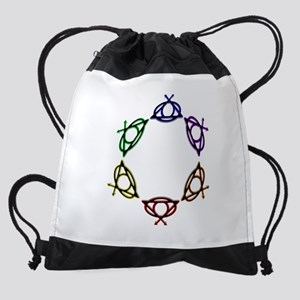 SuperQUEERO Team Symbols Circle Drawstring Bag