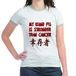 Kung Fu Stronger Than Cancer Jr. Ringer T-Shirt