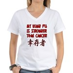 Kung Fu Stronger Than Cancer Women's V-Neck T-Shir