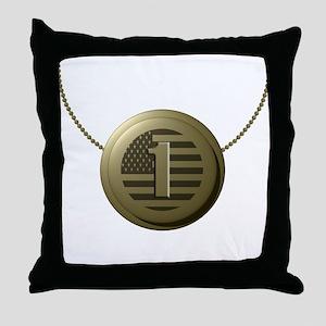 Gold Number 1 Throw Pillow