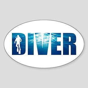 Diver Blue Oval Sticker