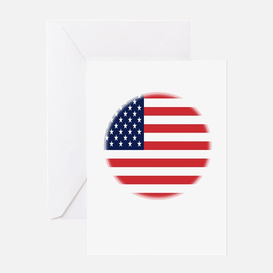 Round USA flag Greeting Card