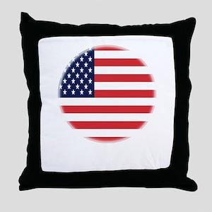 Round USA flag Throw Pillow