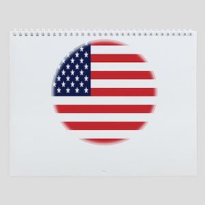 Round USA flag Wall Calendar