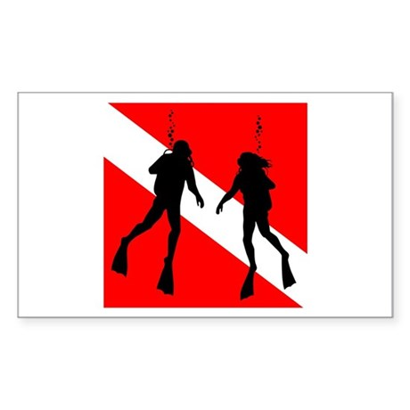 Divers on Flag Rectangle Sticker