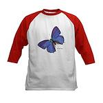 Blue Butterfly (Front) Kids Baseball Jersey