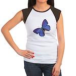 Blue Butterfly (Front) Women's Cap Sleeve T-Shirt