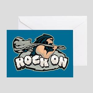 Rock On Guitar Caveman Greeting Card