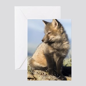Cross Fox Digital Art Greeting Card