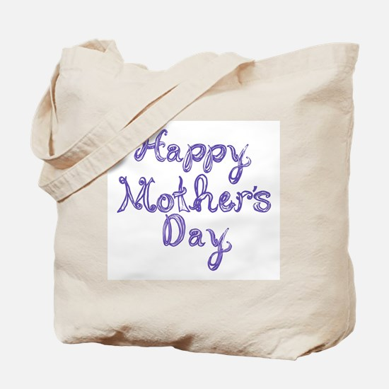 Happy Mother's Day fabric font blue Tote Bag