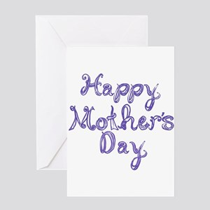 Happy Mother's Day fabric font blue Greeting Cards