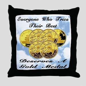 Six Gold Medal Panda Coins Throw Pillow