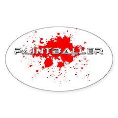 Paintball Paint Baller Oval Sticker (10 pk)