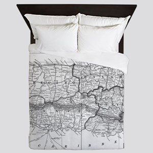 Vintage Map of Puerto Rico (1901) BW Queen Duvet