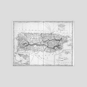 Vintage Map of Puerto Rico (1901) B 5'x7'Area Rug