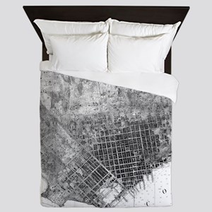 Vintage Map of San Francisco Californi Queen Duvet
