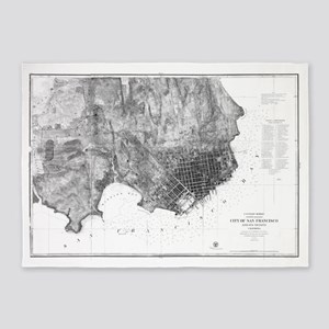 Vintage Map of San Francisco Califo 5'x7'Area Rug