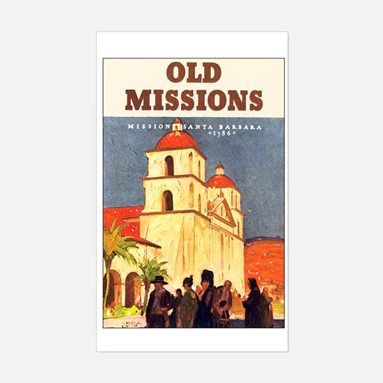 Mission Santa Barbara Rectangle Decal