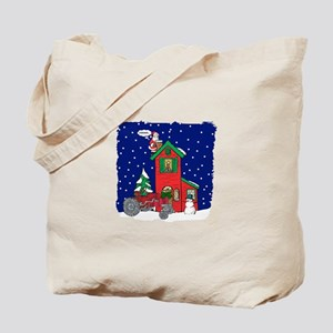 Vintage Tractor For Christmas Tote Bag