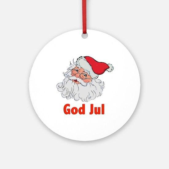 Santa God Jul Ornament (Round)