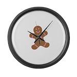 Pink Ribbon Gingerbread Man S Large Wall Clock